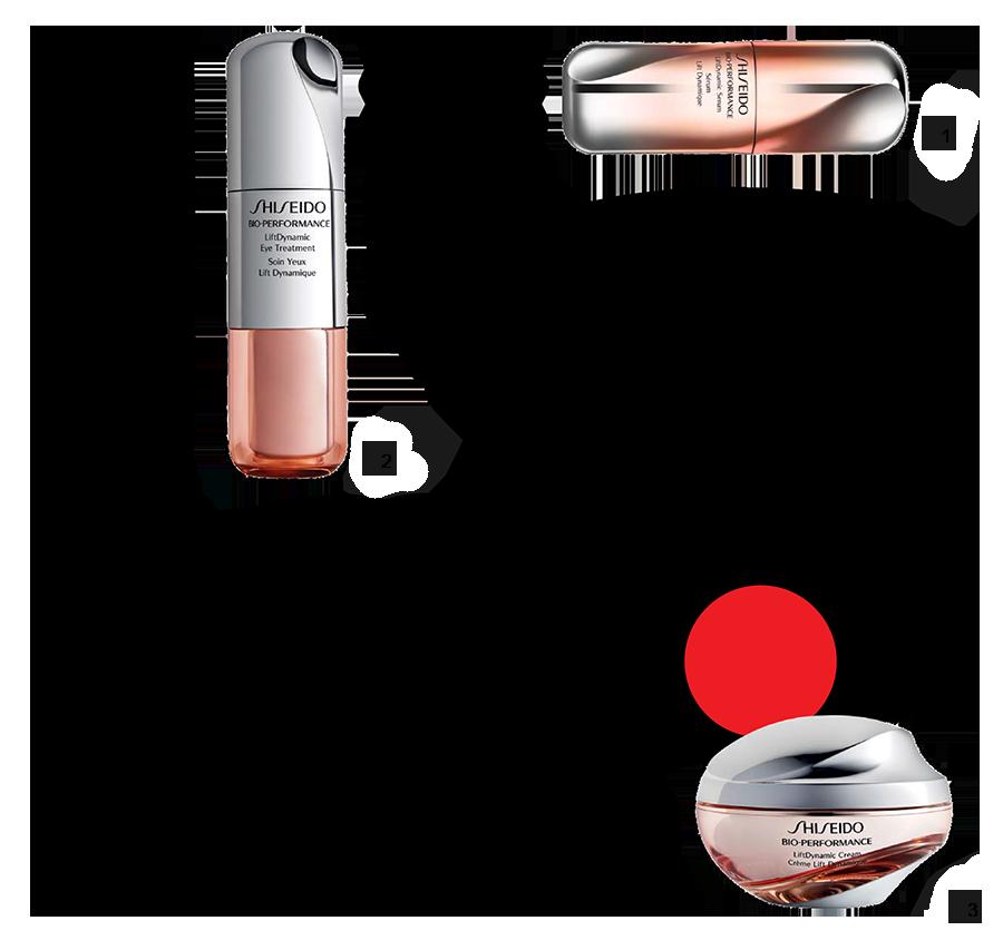 1) Сыворотка LiftDynamic Serum, Bio-Performance, Shiseido 2) Уход для области вокруг глаз LiftDynamic Eye Treatment, Bio-Performance, Shiseido 3) Крем LiftDynamic Cream, Bio-Performance, Shiseido