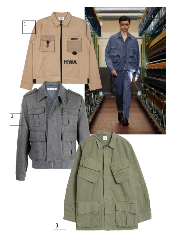 Ermenegildo Zegna, весна-лето 2021  1.Куртка Human With Attitude, 9891 руб. (otdelstore.com) 2. Куртка Off-White, 120 410 руб. (farfetch.com) 3.Куртка Orslow, 39 950 руб. (Peak)