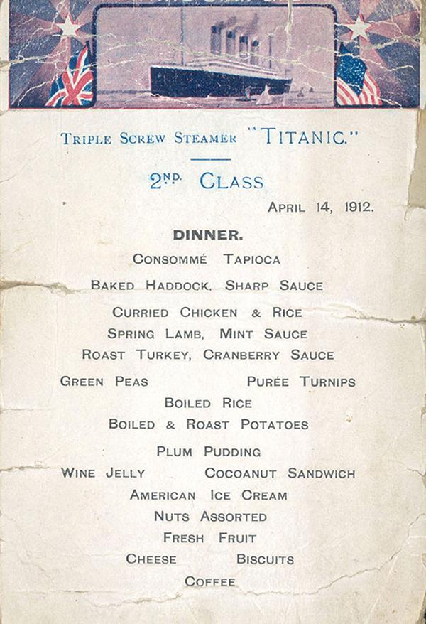 Меню ужина пассажиров второго класса «Титаника»