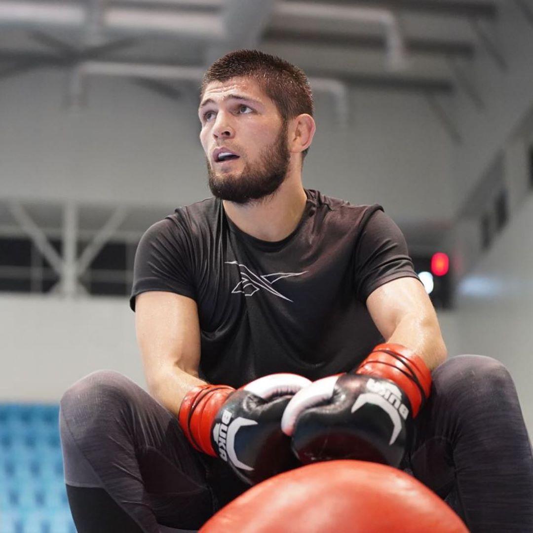 Хабиб Нурмагомедов во время тренировки