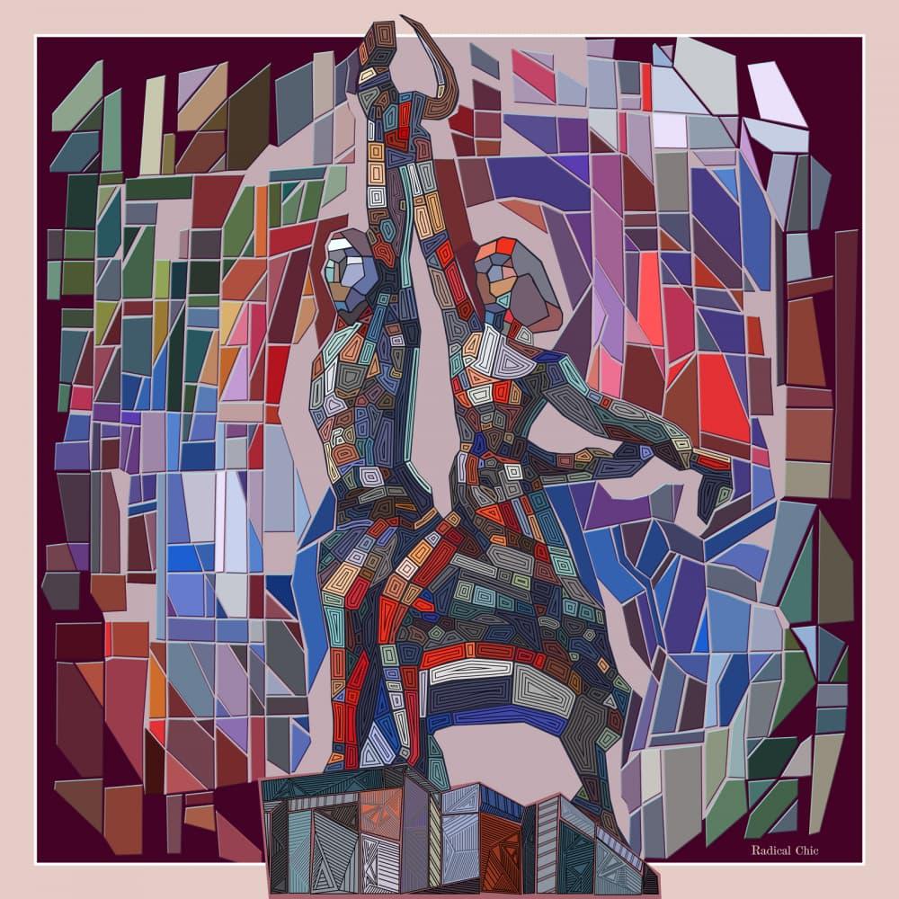 Платок Radical Chic с изображением памятника «Рабочий и колхозница», 11650 руб. (radicalchic.ru)