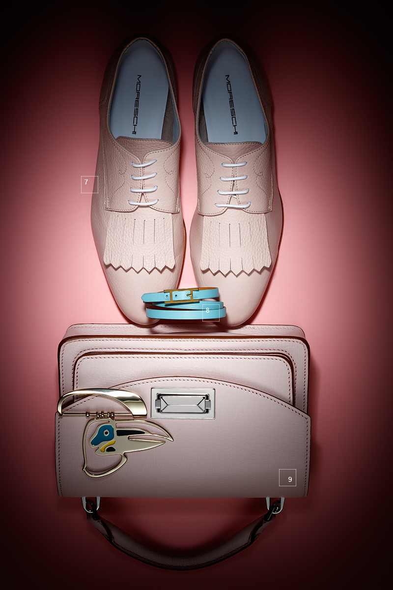 7 | Кожаные ботинки, Moreschi 8 | Браслет, Hermès 9 | Сумка, металлический брелок, все Max Mara