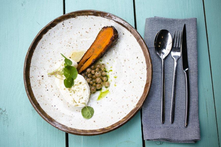 Буррата с жареной морковью и белой смородиной