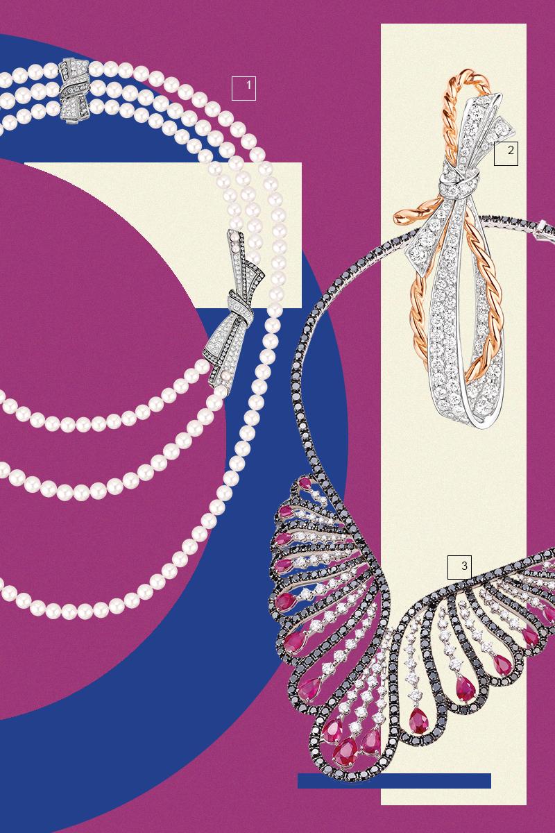 1) Колье из коллекции Coco avant Chanel, Chanel 2) Серьги из коллекции Insolence, Chaumet 3) Колье Vanita, Damiani
