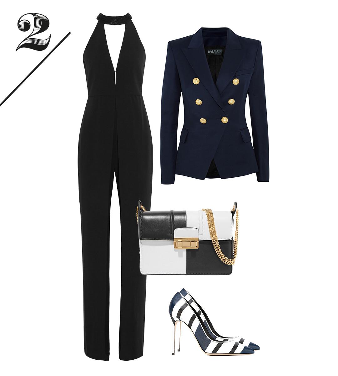 Комбинезон Halston Heritage | Жакет Balmain | Лодочки Dolce&Gabbana | Сумка Lanvin