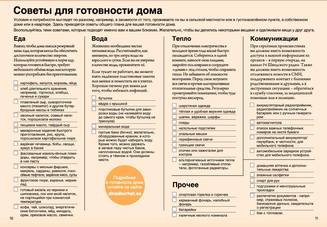 Анкета из брошюры «Если наступит кризис или война»