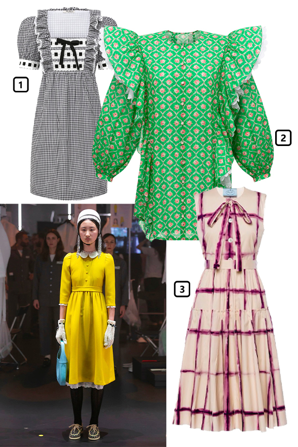 Gucci, осень-зима 2020/21  1)Платье Miu Miu, 110 000 руб. (Miu Miu)  2) Платье Ulyana Sergeenko, 235 000 руб. (Ulyana Sergeenko)  3)Платье Prada, 185 000 руб. (Prada)