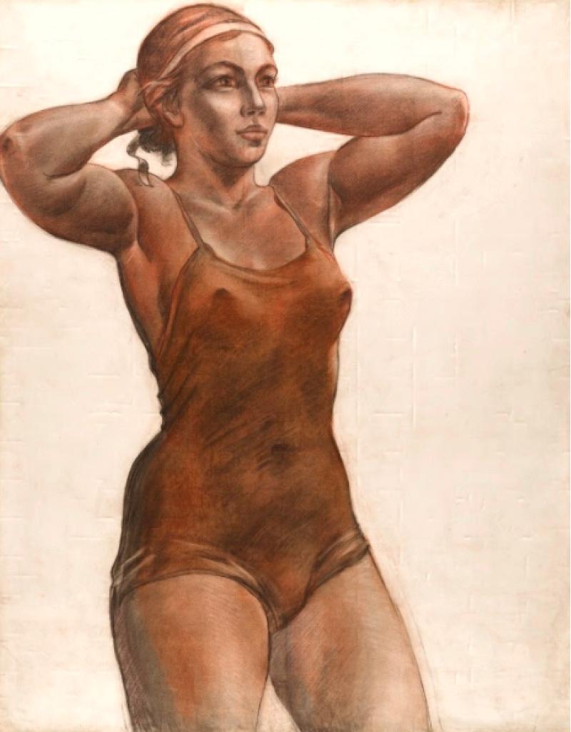 Александр Дейнека, «Спортсменка, завязывающая ленту», 1951