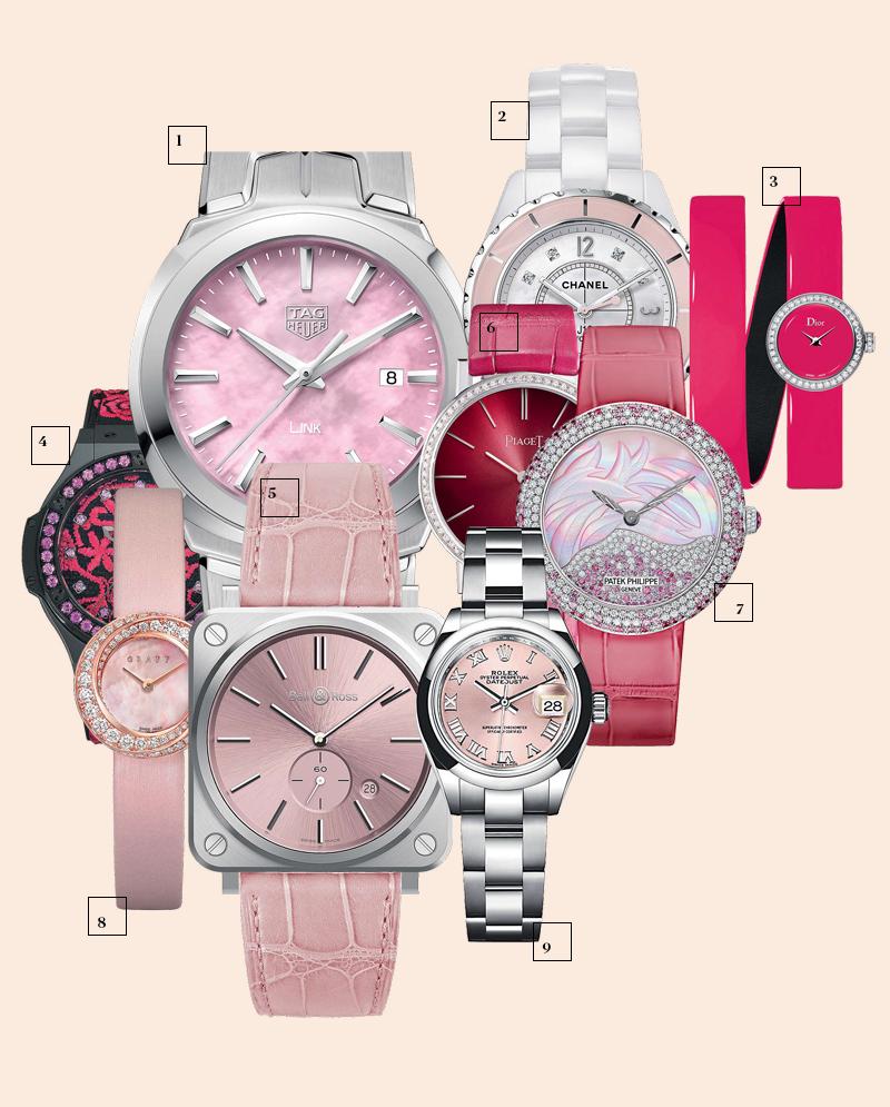 1 | TAG Heuer; 2 | Chanel; 3 | Dior; 4 | Hublot; 5 | Bell & Ross; 6 | Piaget; 7 | Patek Philippe; 8 | Graff; 9 | Rolex