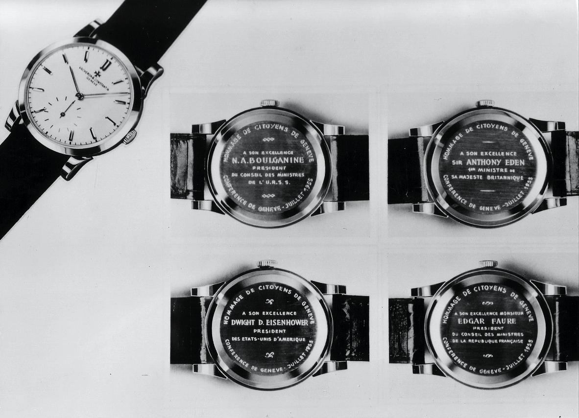 Именные часы Vacheron Constantin, подаренные участникам встречи глав СССР, США, Франции и Великобритании в женевском Дворце наций в 1955 году