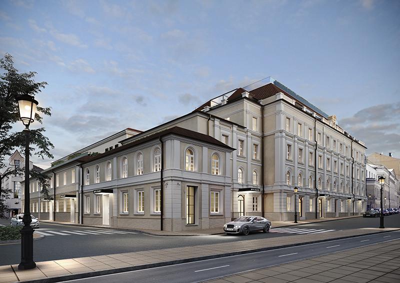 Проект фасада Bvlgari Hotel & Residences Moscow на углу Большого Кисловского переулка и Большой Никитской улицы