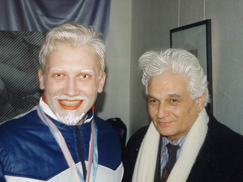 Владислав Мамышев-Монро и Жак Деррида. Расцарапка из журнала «М.В.Ю.», 1994,