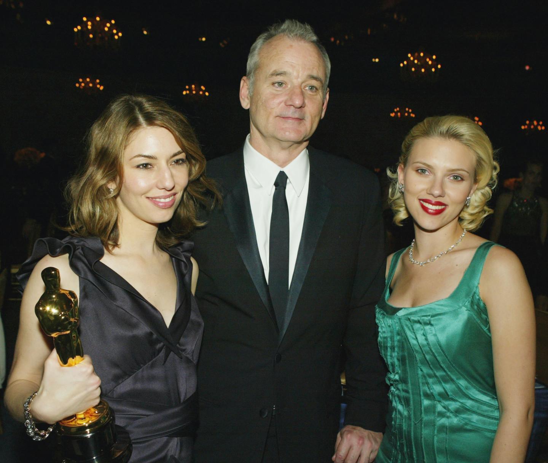 София Коппола, Билл Мюррей и Скарлетт Йоханссон на 76-й ежегодной премии «Оскар», 2004