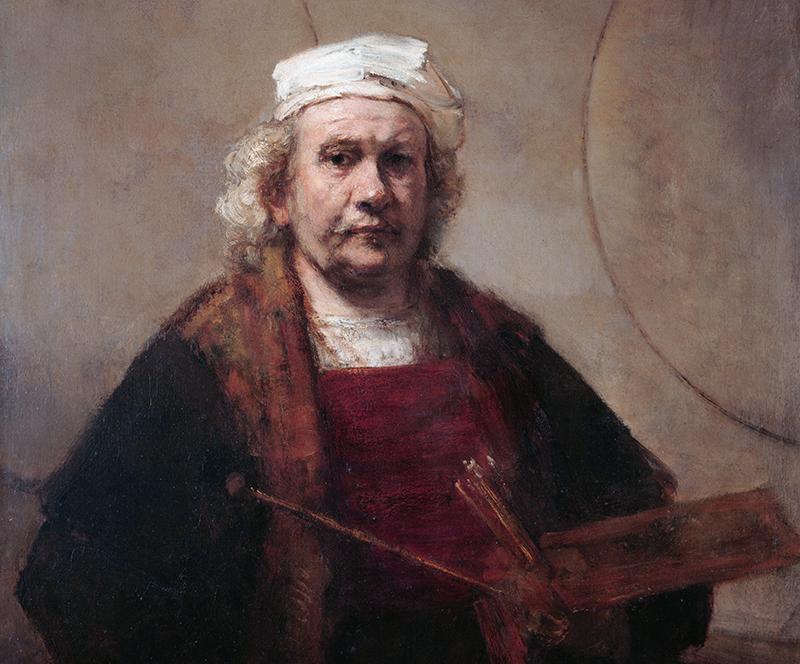 Рембрандт. «Автопортрет с двумя кругами», 1665-1669