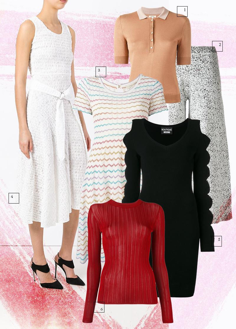 1 | Джемпер, Bellerose 2 | Брюки, Theory 3 | Платье, Marc Jacobs 4 | Сарафан, Victoria Beckham 5 | Платье, Boutique Moschino 6 | Топ, DKNY
