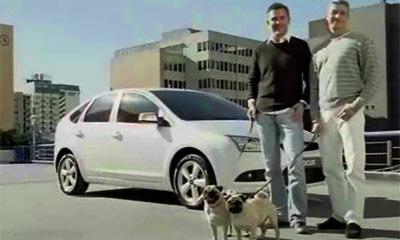 Миловидные мужчины с мопсами на фоне Ford Focus