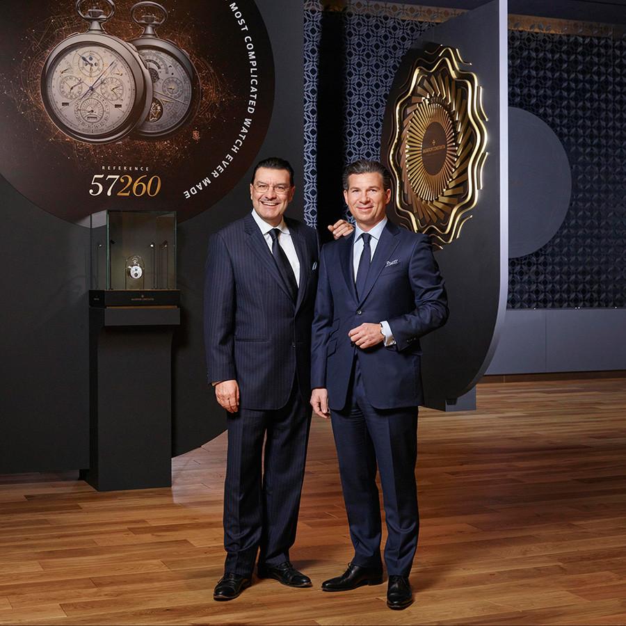 Хуан Карлос Торрес, генеральный директор Vacheron Constantin до 31 марта 2017 года и почетный президент марки с 1 апреля 2017 года и Луи Ферла, генеральный директор Vacheron Constantin c 1 апреля 2017 года