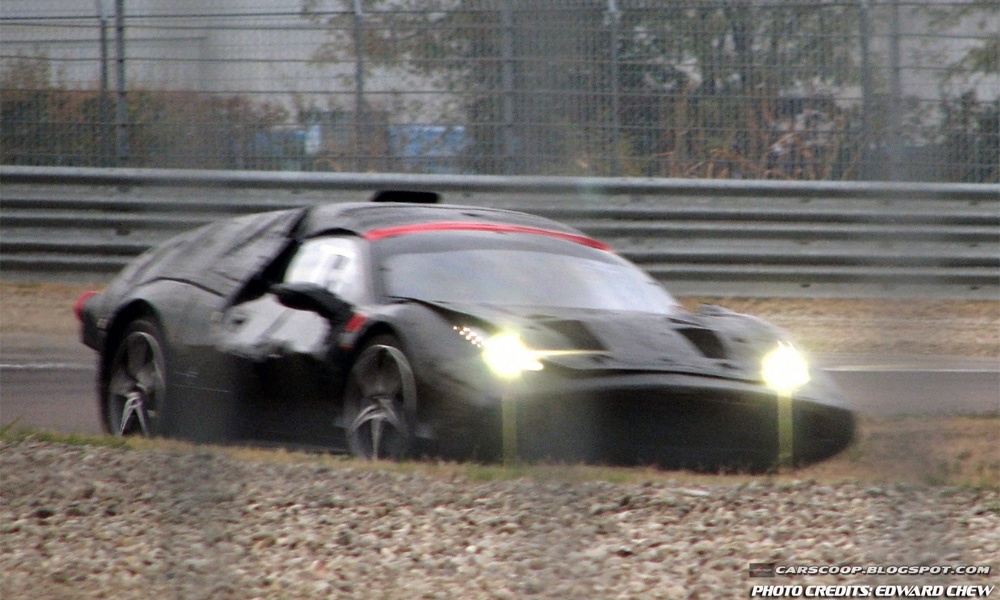 Закамуфлированный прототип Ferrari «засветился» на тестовом треке компании в Маранелло