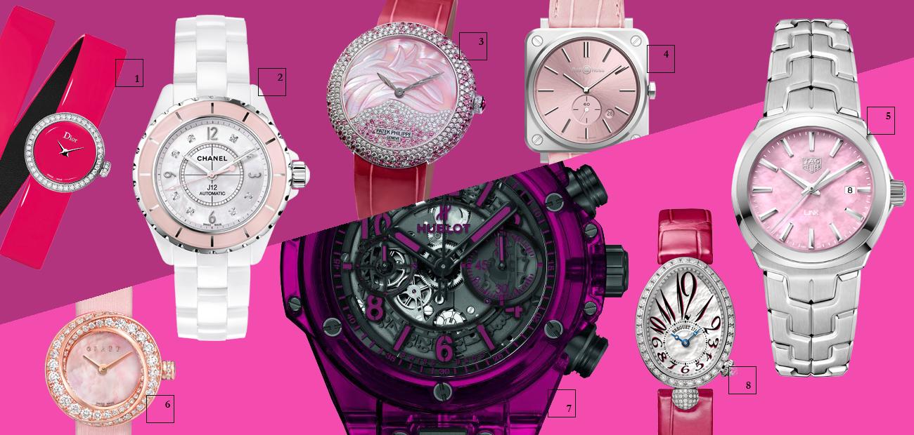 1 | La Mini D de Dior, Dior Horlogerie 2 | J12 Collector, Chanel 3 | Calatrava High Jewellery, Patek Philippe 4 | Nova Rosa, Bell & Ross 5 | Link Lady, TAG Heuer 6 | Graff Pink Spiral, Graff 7 | Hublot Big Bang Unico Sapphire, Hublot 8 | Reine de Naples Mini, Breguet