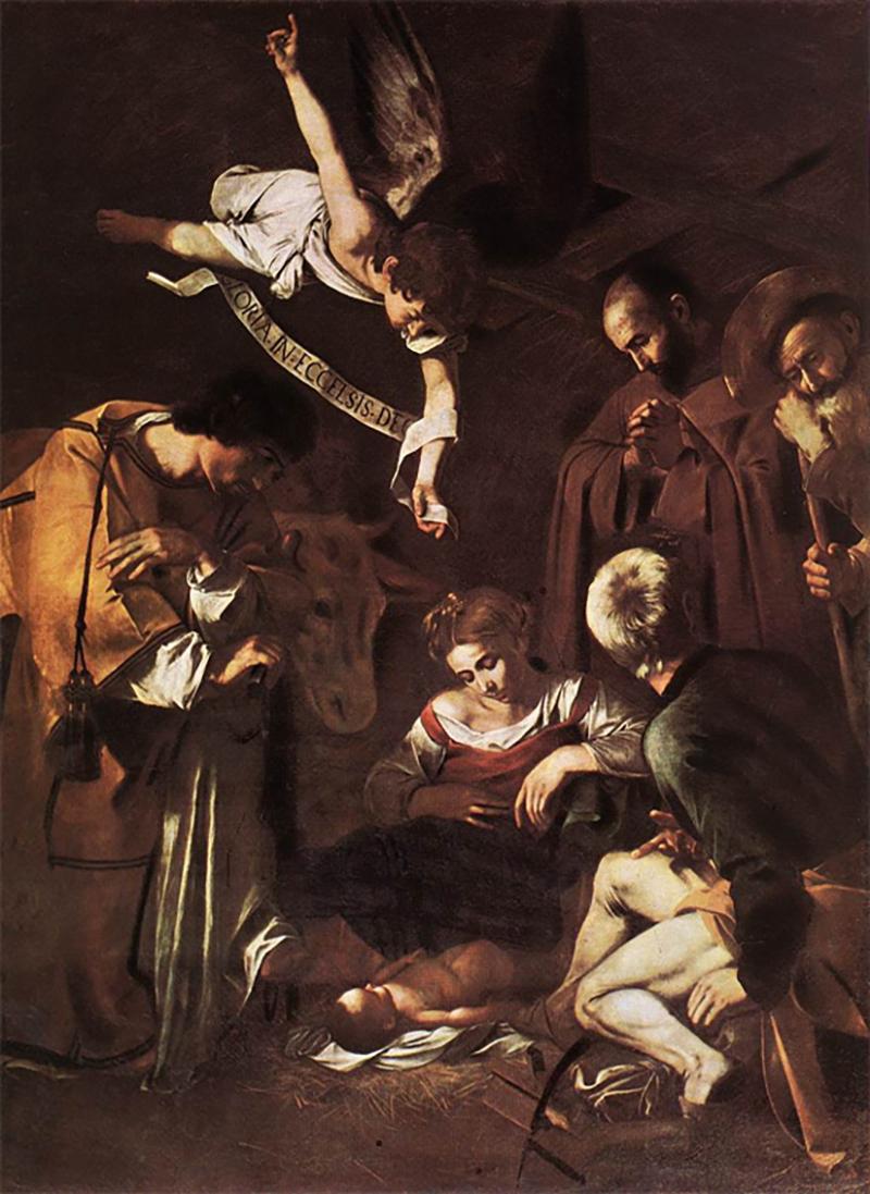 Караваджо,«Рождество со Святым Франциском и Святым Лаврентием», 1609