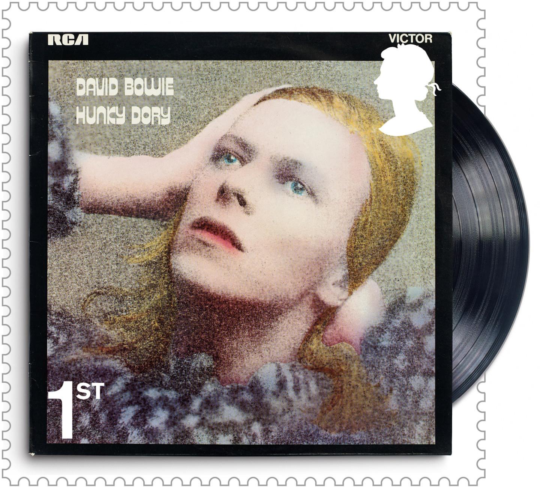 Марка с обложкой альбома Дэвида Боуи «Hunky Dory»