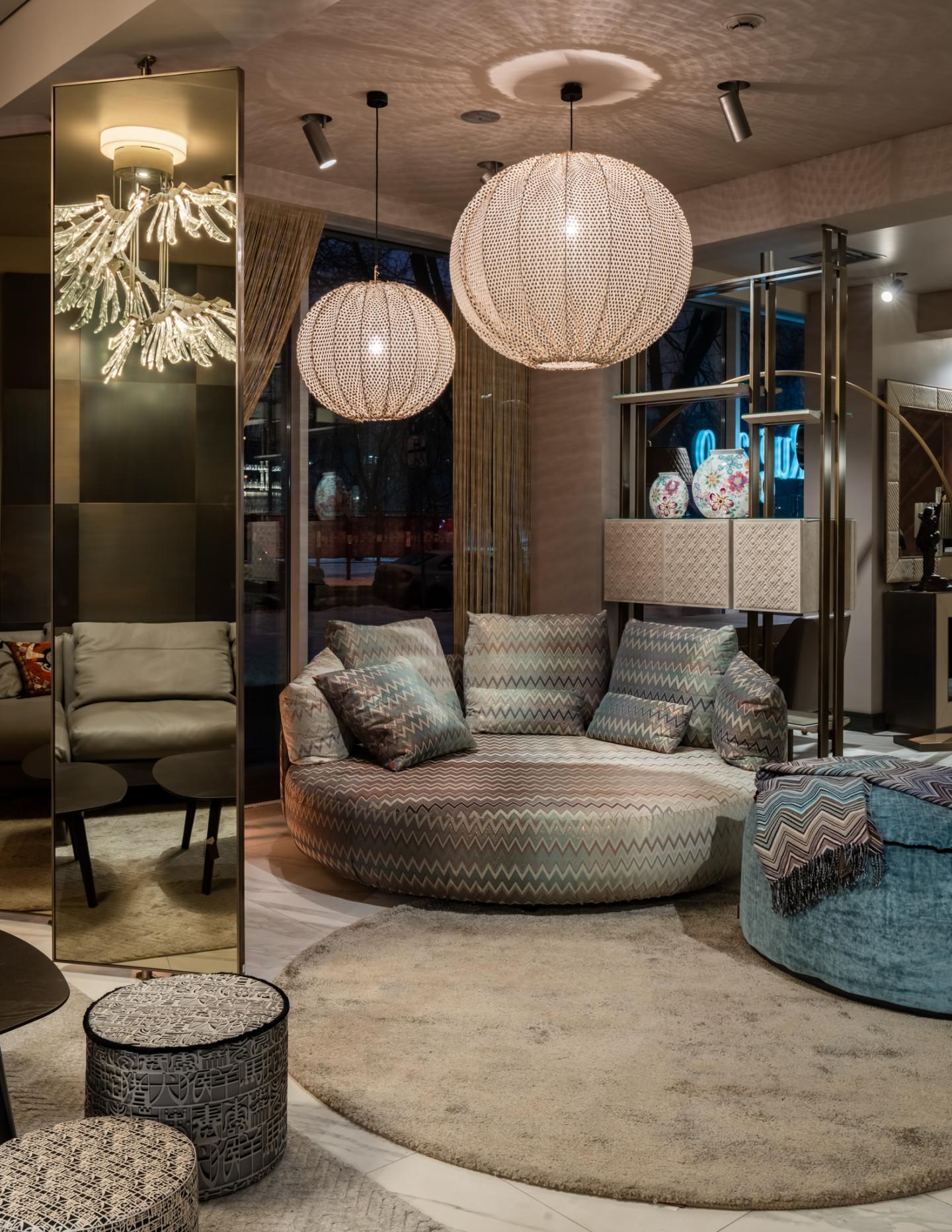 Диван, пуфы, ковры, лампы от MissoniHome в галерее Mobillissimi