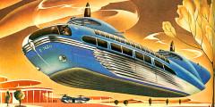 Известный американский иллюстратор-футурист Артур Рейдбо в 1946 г. был уверен, что так будут выглядеть автобусы в будущем. «Новые материалы, новые технологии, комбинация силы и скорости», - емко описалтранспортное средство художник.
