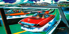 Такими видел дороги будущего японский иллюстратор Шигеру Коматцузаки, известный по многочисленным комиксам. Не совсем понятно, как именно должны перемещаться по дорогам будущего автомобили. Судя по общему плану, машины, возможно,могли лететь над водой.