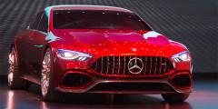 Mercedes-AMG GT4  Тип кузова этого прототипа можно записать в разряд стильных универсалов Shooting Brake. Серийная версия появится в 2019 г., займет место универсала CLS Shooting Brake и даст бой Porsche Panamera, Audi A7 и BMW 6-Series GranCoupe. Концепт оснащен гибридной силовой установкой из 4,0-литрового бензинового мотора V8 и электродвигателя. Суммарной мощностью более 800 лошадиных сил. До 100 км/ч прототип может разогнаться за 3 секунды.