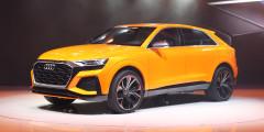 Audi Q8  Флагманский внедорожник Audi дебютирует в 2018 г. и будет представлять собой более стильную и спортивную версию модели Q7. В основе та же платформа, но у прототипа гибридная установка с 3,0-литровым бензиновым V6 и электромотором суммарной мощностью 470 лошадиных сил. Женевский Q8 Sport Concept и отличается от прототипа, представленного на автосалоне в Детройте, решеткой радиатора, формой кузовных элементов и оптикой. В перспективе – выпуск 600-сильной модификации RS Q8 и выпуск полностью электрической версии E-Tron.