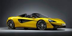 McLaren 570S Spider  Новый McLaren 570S Spider получил жесткий откидной верх и стал на 46 кг тяжелее купе. Масса автомобиля составила около 1 452 килограммов.