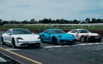 Гонку очень мощных Porsche показали на видео