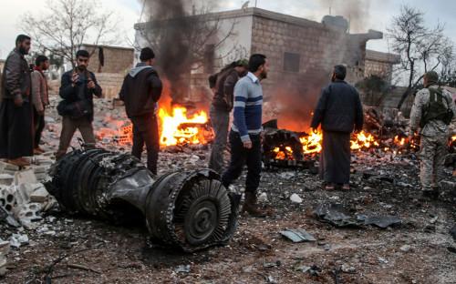 <p>Обломки сбитого в Идлибе Су-25. 3 февраля 2018 года</p>  <p></p>