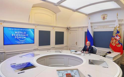 <p>Владимир Путин во время сессии онлайн-форума &laquo;Давосская повестка дня 2021&raquo;, организованного Всемирным экономическим форумом</p>