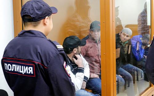<p>Фигуранты дела Бориса Немцова <em> (слева направо) </em> Хамзат Бахаев, Темирлан Эскерханов и&nbsp;Шадид Губашев</p>