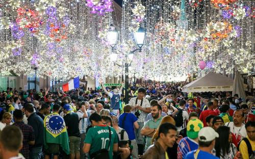 Болельщики на Никольской улице во время проведения чемпионата мира по футболу — 2018