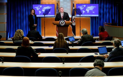 Майк Помпео на пресс-конференции