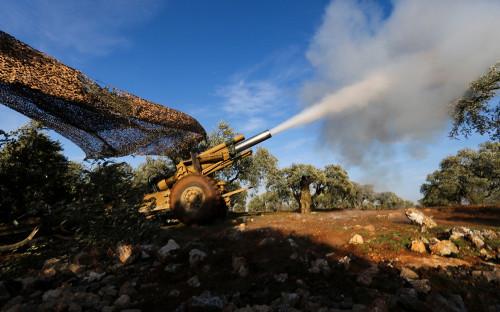 Артиллерия протурецких боевиков в Идлибе