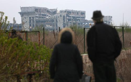 <p>Вид на разрушенный аэропорт Донецка</p>  <p></p>