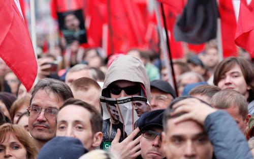 Протестующие на митинге оппозиции 29 сентября 2019 года
