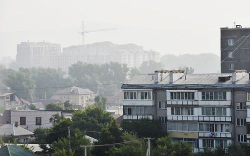 Смог от пожаров в городе Абакан, Республика Хакасия