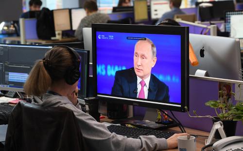 <p>Трансляция &laquo;Прямой линии с&nbsp;Владимиром Путиным&raquo;</p>