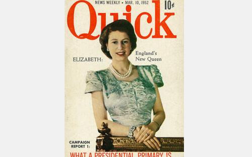 <p>6 февраля 1952 года после&nbsp;смерти отца, короля Георга&nbsp;VI, королевой Великобритании была объявлена Елизавета&nbsp;II. Коронация состоялась 2 июня 1953 года, в&nbsp;Вестминстерском аббатстве в&nbsp;Лондоне.</p>  <p><em>На фото:</em> обложка журнала Quick, 1952 год</p>