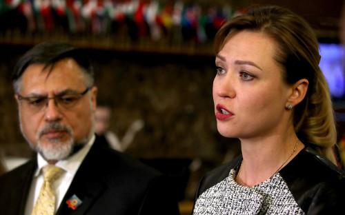 Министр иностранных дел ЛНР Владислав Дейнего и министр иностранных дел ДНР Наталья Никонорова