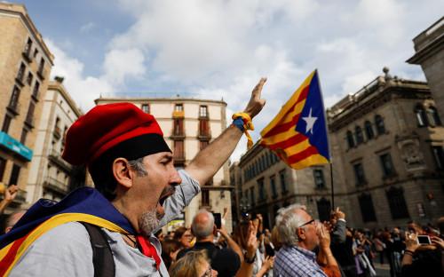 Участник митинга за независимость Каталонии