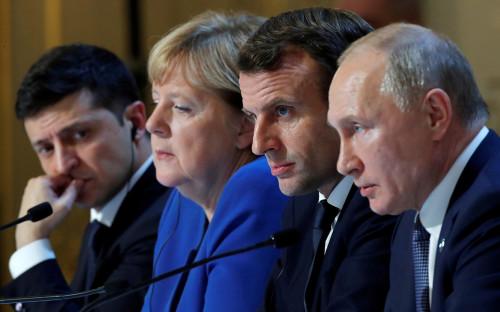 Владимир Зеленский, Ангела Меркель, Эмманюэль Макрон и Владимир Путин (слева направо)