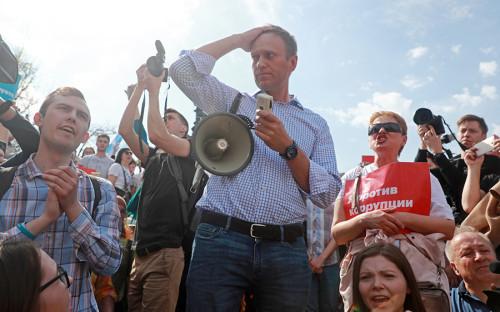 На акцию на Пушкинской площади пришел Алексей Навальный