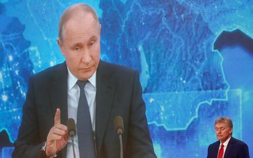 Дмитрий Песков на ежегодной пресс-конференции Владимира Путина