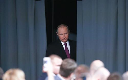 Президент России Владимир Путин прибыл на свою ежегодную большую пресс-конференцию.