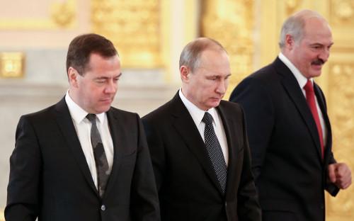 Дмитрий Медведев, Владимир Путин и Александр Лукашенко